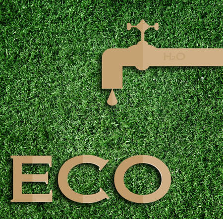 green eco: water concept. Paper cut of eco on green grass.