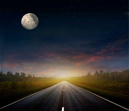 dark sky: Long country road with white lines down the centre stretching off past a lone tree to the distant horizon