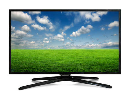 green technology: 4k monitor isolated on white. tv with the nature view