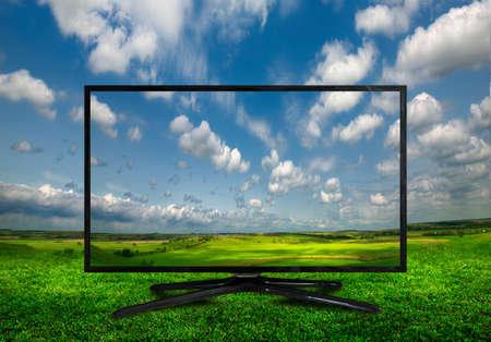 video wall: 4k monitor isolated on white Stock Photo