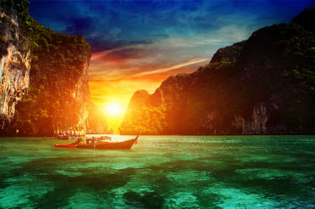 phi phi island: Thailand, Phi Phi Island. sunset over the Andaman Sea Stock Photo