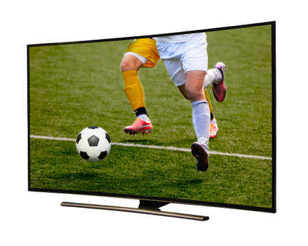 4k monitor isolated on white 版權商用圖片