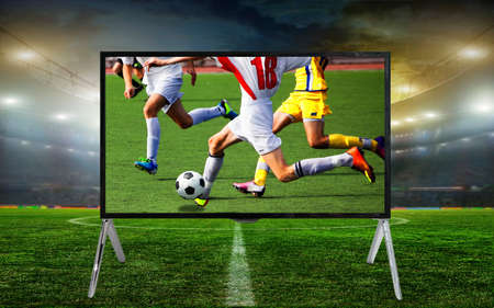 telly: Smart tv led monitor isolated on white background. Soccer game. Telecasting