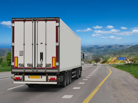 Container on the big highway. transport loads Stockfoto