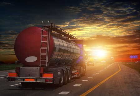 tanker on the big highway, at sunset on the road Working visit