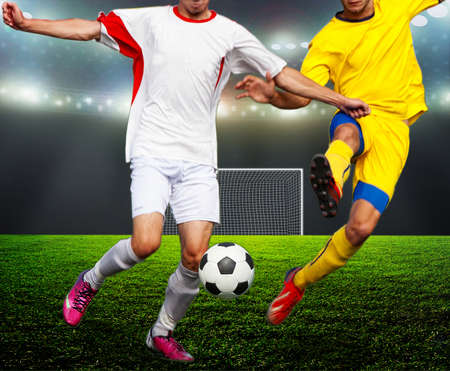 floodlit: On the stadium. abstract football or soccer backgrounds  Stock Photo