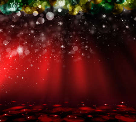 Christmas with defocused lights. Red background Stock Photo