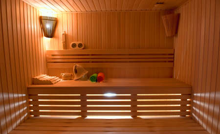 finland sauna: Sauna room with traditional sauna accessories