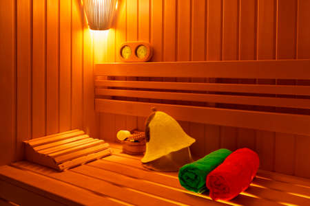 traditional Finnish sauna with caps for the head, poltentsami and accessories