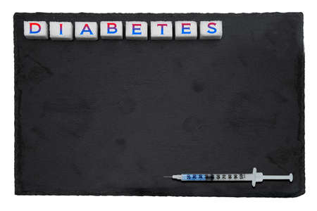 Treatment of diabetes. Conceptual poster prevention of diabetes in the background with sugar cubes Reklamní fotografie