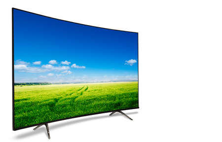 4k monitor isolated on white. tv with the nature view Фото со стока - 77733629