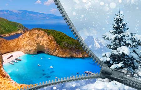 Von Winter zu Sommer . Die Insel Zakynthos im Ionischen Meer Standard-Bild - 82952982