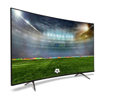 4k monitor isolated on white. Isometric view.   monitor watching smart tv translation of football game. Archivio Fotografico