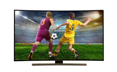 watching smart tv translation of football game. stadium, championship Foto de archivo
