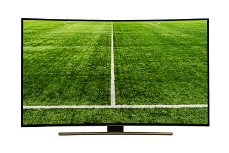 monitor isolated on white.  watching smart tv translation of football game.. Modern, elegant TV 4 K, with incredibly beautiful colors of the image . 写真素材