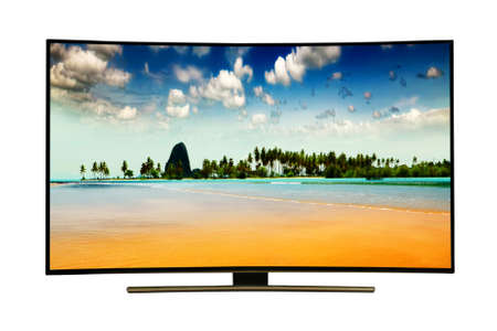 monitor isolated on white.  Andaman Sea, Phuket Island. Thailand. Modern, elegant TV 4 K, with incredibly beautiful colors of the image .