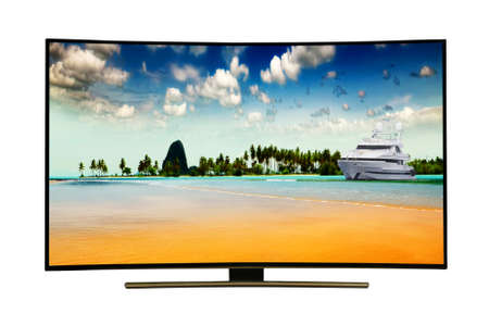 monitor isolated on white.  Andaman Sea, Phuket Island. Thailand. Modern, elegant TV , with incredibly beautiful colors of the image .