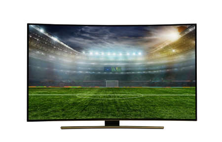 monitor isolated on white.  monitor watching smart tv translation of football game with incredibly beautiful colors of the image.