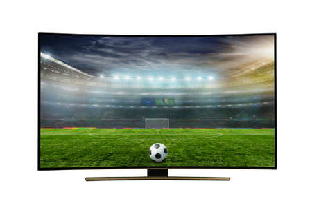 monitor isolated on white.  monitor watching smart tv translation of football game., with incredibly beautiful colors of the image. 写真素材
