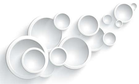 Progettazione grafica di lenti rotonde, convesse, in vetro su sfondo bianco. Design originale dell'ornamento