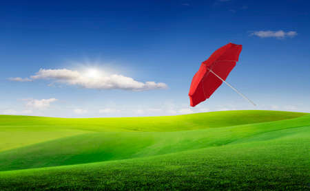 A red umbrella flies under a gust of wind over a meadow