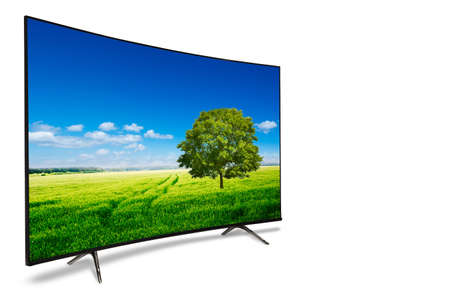 monitor isolated on white. tv with the nature view Stock Photo