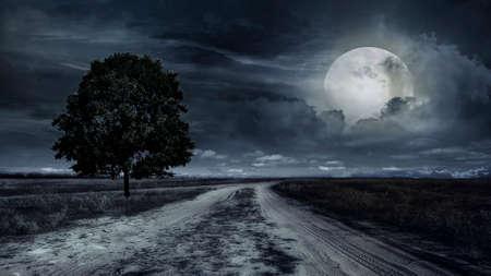 verharde weg door een tarweveld 's nachts. Storm