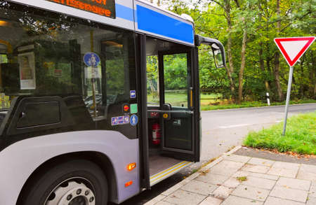 City bus at the last stop in the park area