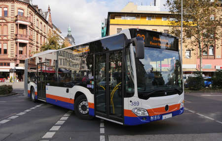 Germany.  Wiessbaden. 23.09.2019.   Public bus at  street   city - Image