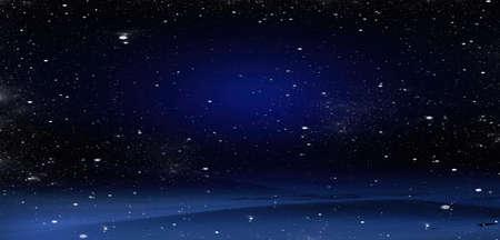 Fondo de año nuevo. La nieve cae sobre ventisqueros, vista nocturna