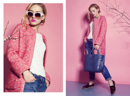 collage of fashion studio photos of gorgeous young woman with blond curly hair wears elegant pink coat,blouse and luxurious sunglasses