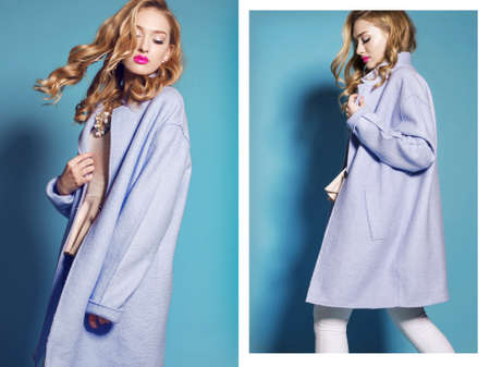 collage of fashion studio photos of gorgeous young woman with blond curly hair wears elegant blue coat Foto de archivo