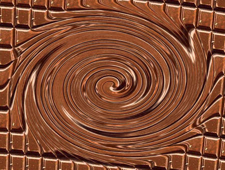 chocolate swirl: abstract swirl of melted chocolate from a volume