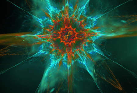 plasma: turquoise orange plasma fractal star on a black background Stock Photo