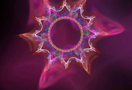 fractal pink: purple and pink plasma fractal star on a black background