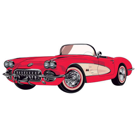 Retro car red Illustration