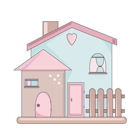 sweet house in pink and blue. Vector illustration.