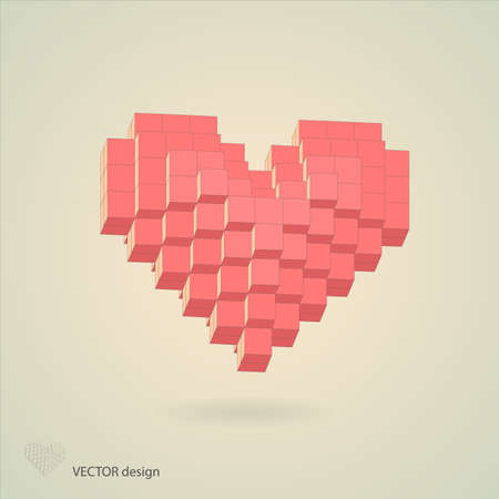 Abstract pixel heart Vector