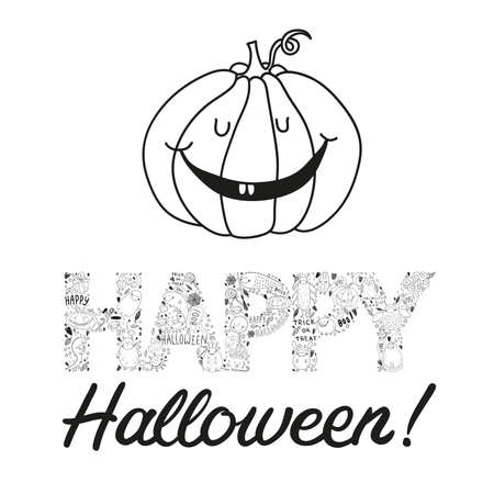 jack o   lantern: happy and cute hand drawn halloween postcard with a jack o lantern isolated on a white background