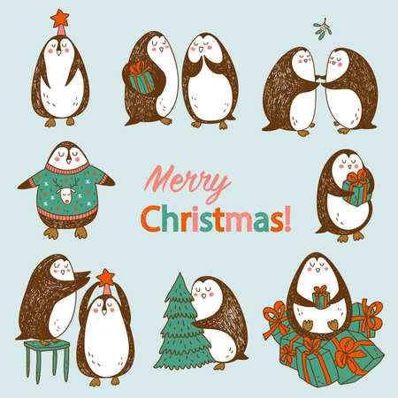 pinguinos navidenos: mano feliz dibujada postal de Navidad con los pingüinos abstractos lindos