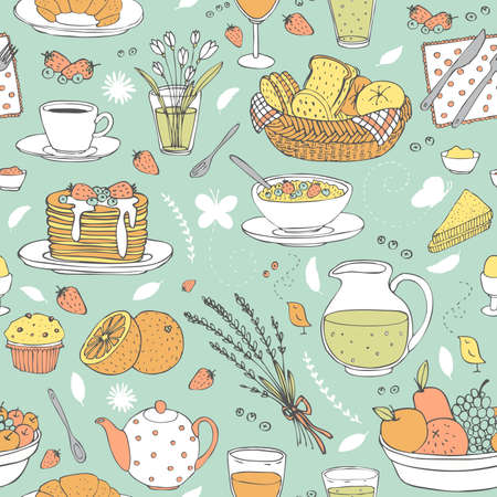 breakfast plate: vector hand drawn seamless pattern with various cute breakfast items