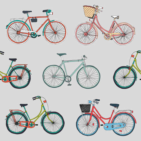 hand basket: hand drawn vector seamless pattern with colorful city bikes