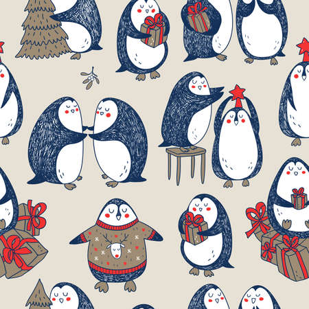 cartoon penguin: vector christmas seamless pattern with cute hand drawn penguins