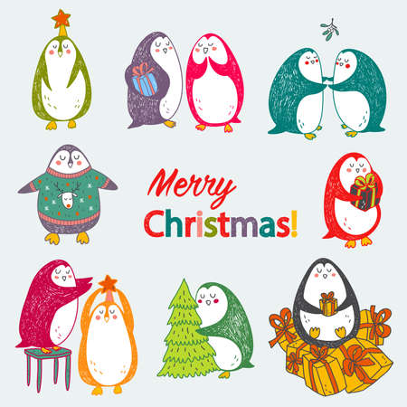 christmas concept: happy hand drawn christmas postcard with cute abstract penguins in bright colors