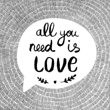 te negro: dibujado a mano la tarjeta de felicitación del vector con el texto All You Need Is Love
