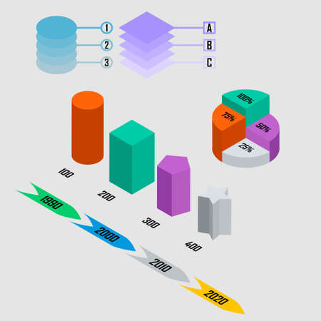 infographic with arrow, piechart, year