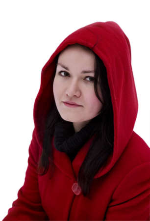 Pretty girl in the red coat on a white background Stock Photo - 9371879