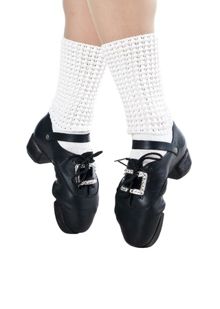 tap dance: Legs in shoes for irish dancing  Stock Photo