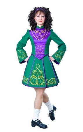 irish woman: Woman irish dancer taking a step
