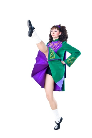 Dancing irish dance on the white background Stock Photo - 12313818